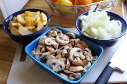 Yellow Squash, Onion, and Mushrooms are sliced and set aside