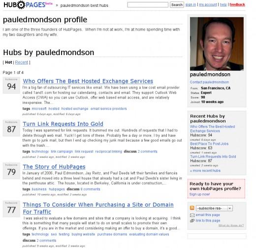Paul Edmondson's HubPages profile, August 29, 2006