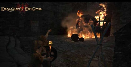 Dragon's Dogma Defeating the Cyclops - note the cyclops' helmet on the ground