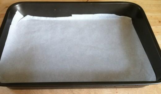 Line a pan with parchment paper