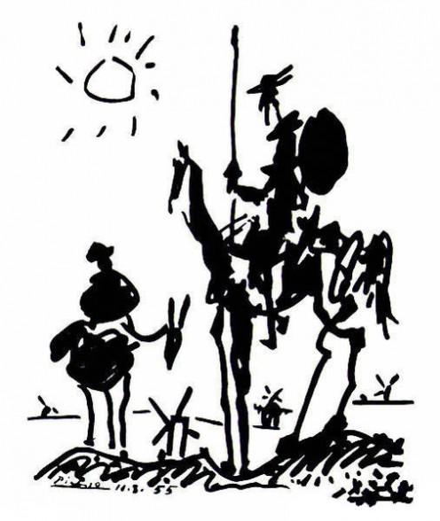 Painting of Don Quijote and Sancho Panza by Pablo Picasso.