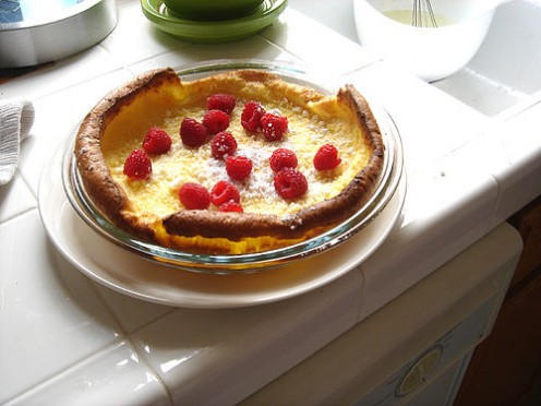 Topped with raspberries.