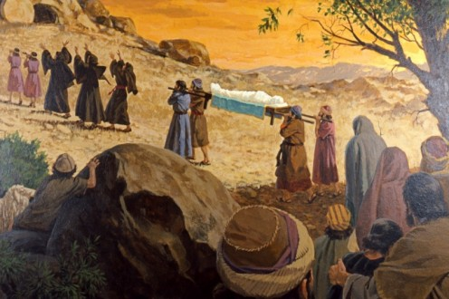 Funerals in Bible times were dismal events, with loud wailing, tearing of clothing, walking barefoot, and beating their chests to show grief.