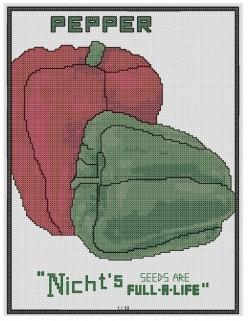 free cross stitch pattern Pepper Seed packet