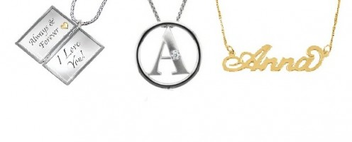 Personalized Jewelry Gifts - Love note engraved jewellery, Alphabet Pendant and Nameplate Pendant Necklace