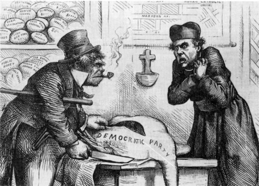 Old racist American newspaper cartoon depicting an Irishman as greedy, ape and beast-like.