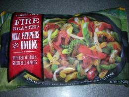 Bag of fire roasted onions and peppers