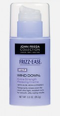 Frizz Ease Wind Down Creme softens cuticles and straightens locks