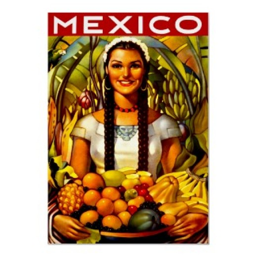 Enjoy this beautiful vintage poster of a Mexican lady holding a basket of fruit and retouched for the highest picture quality on this colorful poster that would look good on any wall. Click on the source link to purchase it.