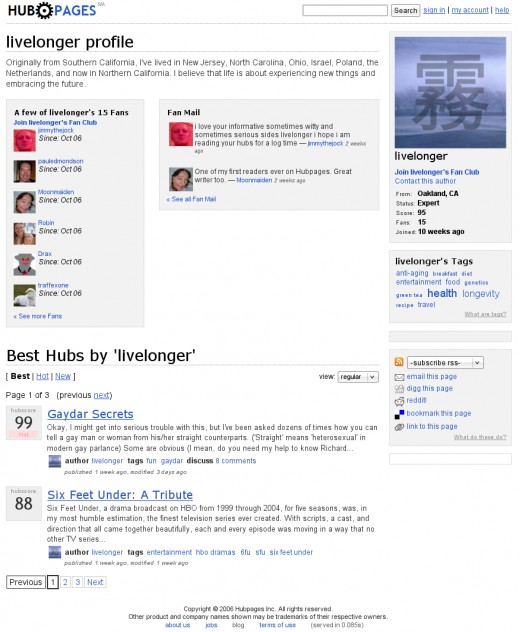 October 31, 2006 - livelonger's profile, earliest design