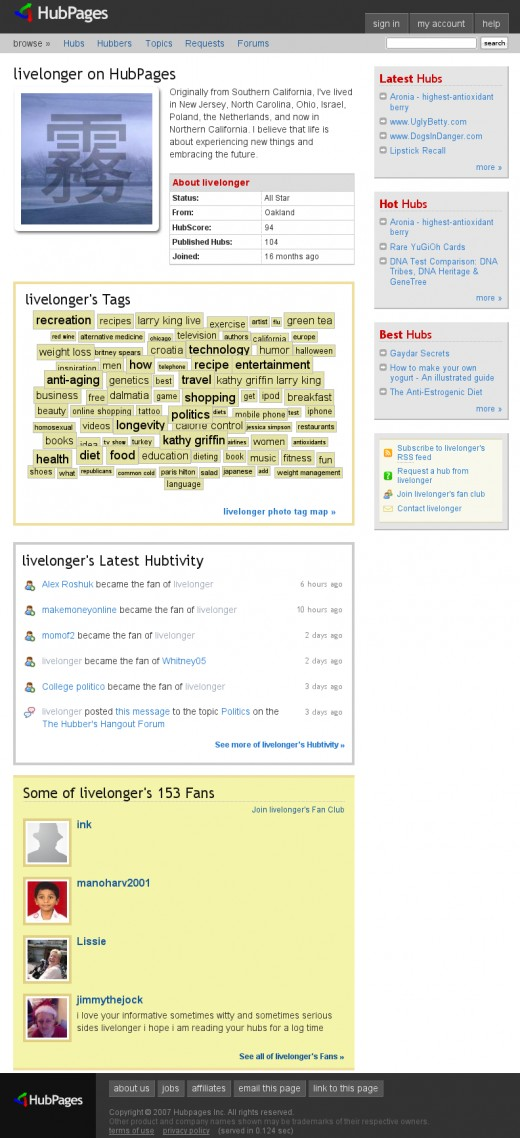 Dec 17, 2007 - livelonger's profile now with Hubtivity