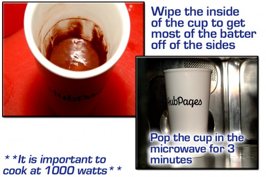 Once the mix is blended and smooth, wipe down the inside walls of the cup using a dry towel. Pop the cup into the microwave and cook for 3 minutes. (Be sure to cook at 1000 watts!)