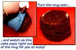 Invert the mug, and the cake will fall right out. I have never had one stick.