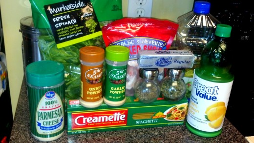 The ingredients to make our shrimp pasta.