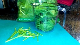 Pull the stems off the spinach leaves and fill up a 2 cup container.