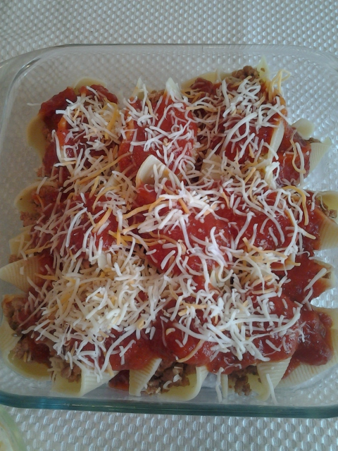 Sausage Stuffed Shells before baking