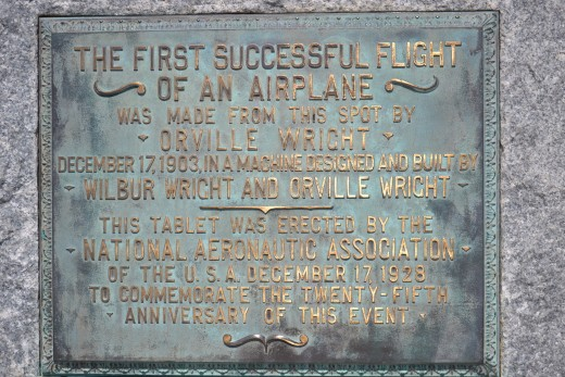 A plaque noting the location of the first successful flight of an airplane by the Wright Brothers in North Carolina