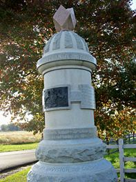 The Monument to the Sixty-Third Pennsylvania located on the intersection of Millerstown and Emmitsburg Roads was where they had fought on 2 July 1863.