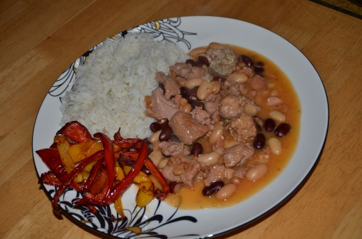 Poor Man's Cassoulet with rice and stir-fried peppers