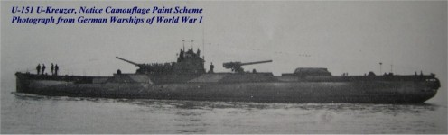 WWI: U-Kreuser class submarine. Note the two 150-mm cannons, fore and aft.