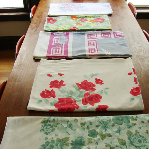 Look for dated floral prints and borders