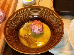 Roll your sausage balls in raw egg.