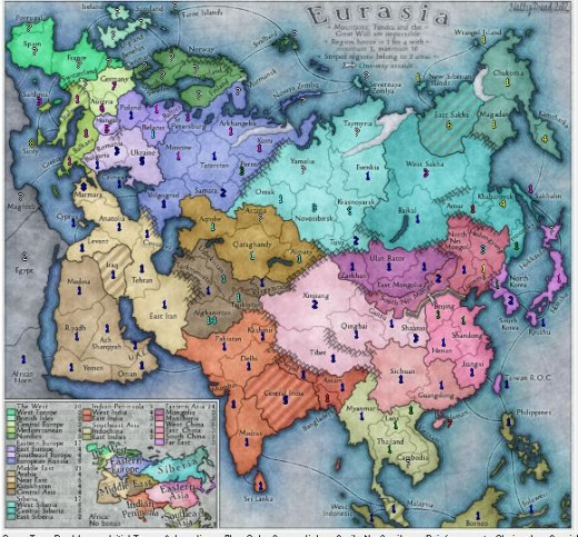 The Eurasia Map (I'm blue in this game- doing some serious conquering.)