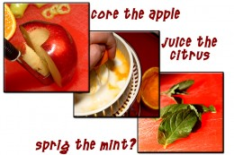 Prep the apple, citrus and mint.