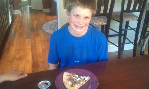 My middle son is game to try this gourmet pizza recipe