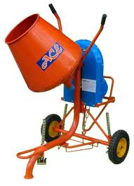 This is a typical concrete mixer to mix concrete and mortar to lay bricks used on site, they can be electric or have a petrol engine.