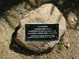 A monument to Roger Weil aged 57, his wife Georgette aged 51 and their son Pierre-Daniel aged 13 years. They left the French internment camp at Drancy in Convoy 53 and died at Sobibor