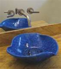 Blue vessel sink.