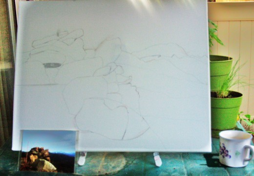 Here I am adding more detail to the sketch.