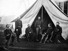 The generals of the Army of the Potomac: Gouverneur K. Warren, William H. French, George G. Meade, Henry J. Hunt, Andrew A. Humphreys, George Sykes.  Photo taken September 1863 in the Union Camp in Culpeper, Virginia