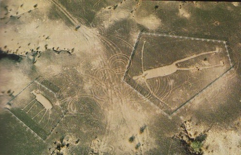Near Blythe, California, giant intaglio figures that are very similar to shapes also found in Nazca, Peru.  Landing strips for space ships?
