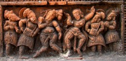 A group of Badia dancer & musician; Ananta Basudeva temple, Bansberia