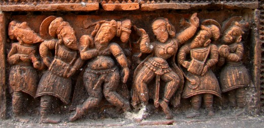 A group of Badia dancer & musician; Ananta Basudeva temple, Bansberia