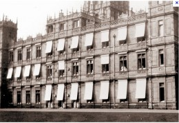 Highclere during World War I when it was used as a hospital.  The blinds were installed especially for this purpose.