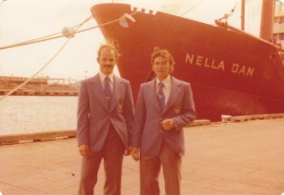 My friend, Paul Musk and I at the wharft in Melbourne in 1976 before we embarked for a year on Macquarie Island.  Paul was 29, I was forty.