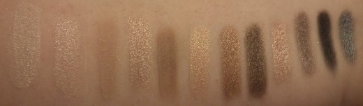 Swatches over Urban Decay Primer Potion. They are in order from left to right on the palette.
