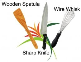 Wooden Spatula, Sharp Knife, Wire Whisk