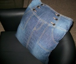 Denim Pillow Case Made From My Old Skirt