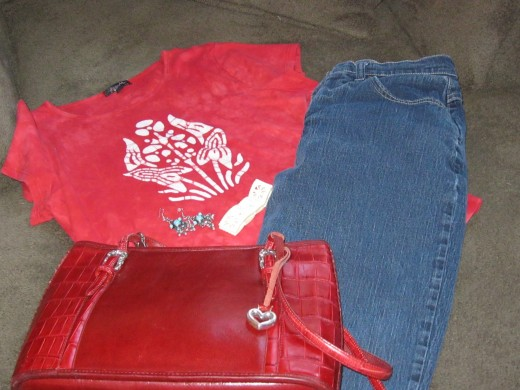 Funky T-Shirt $3.99, Riders Jeans $5.99, Boho earrings $2.50, Old white plastic bracelet $1.99, Brighton red leather purse $15