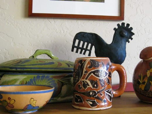 Thrift store additions to my Mexican pottery collection.  Green caserole $9.99, small bowl. $1.99, mug $2.99