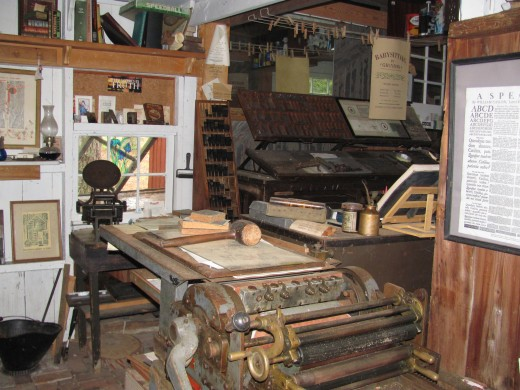 Printer's shop, Furnace Town, Snow Hill, MD