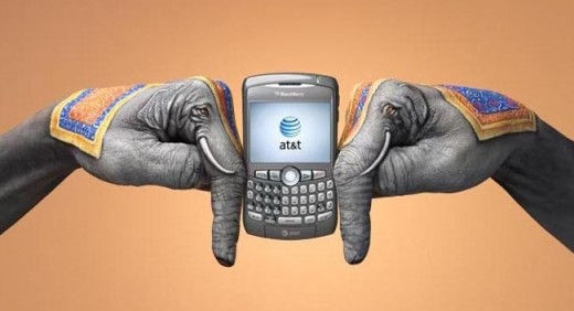Indian Elephants Hand Art - Depicting The Roaming Capability of AT&T in India