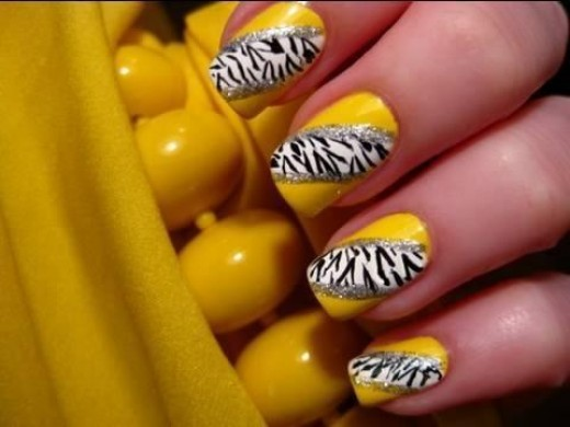 Yellow Zebra Nails