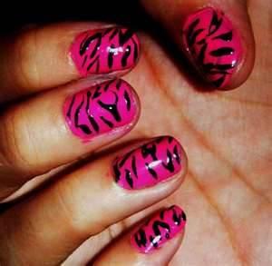 Pink and Black Zebra Nails