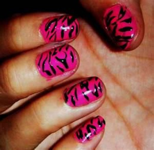 Pink and Black Zebra Nails