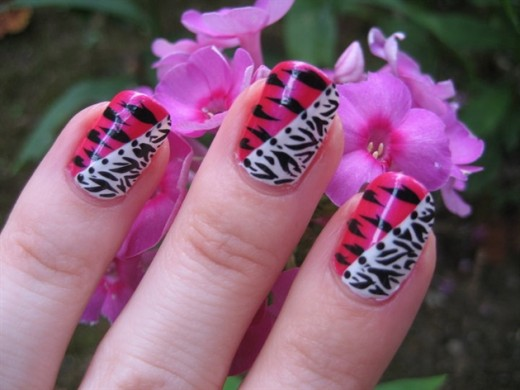 Pink, Black and White Zebra Nails